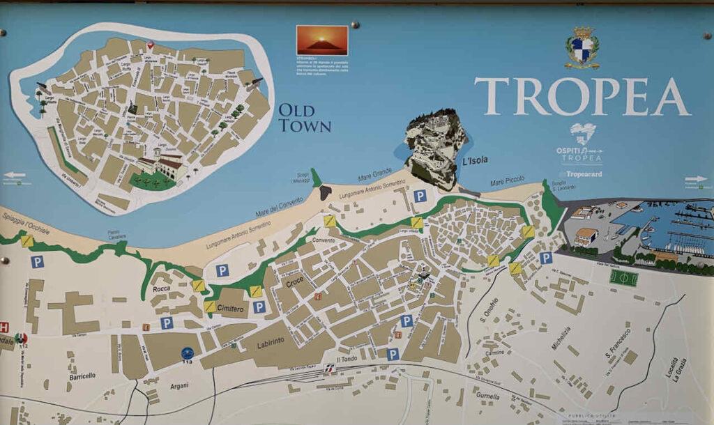 Karte von Tropea in Kalabrien