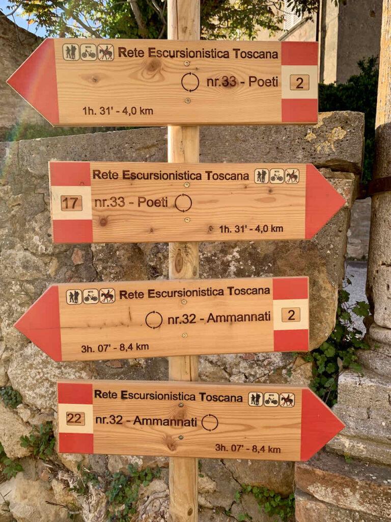 Wander- und Radwege um Pienza im Val d'Orcia